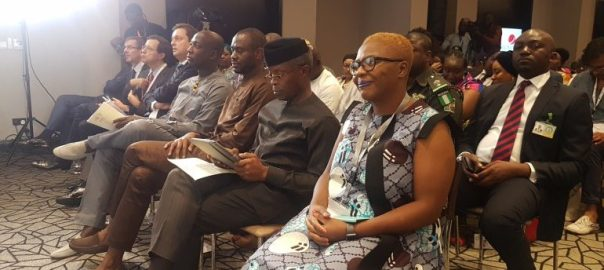 Vice President, Yemi Osinbajo, Lola Shoneyin pictured at the opening day of Ake Festival in Lagos on Friday