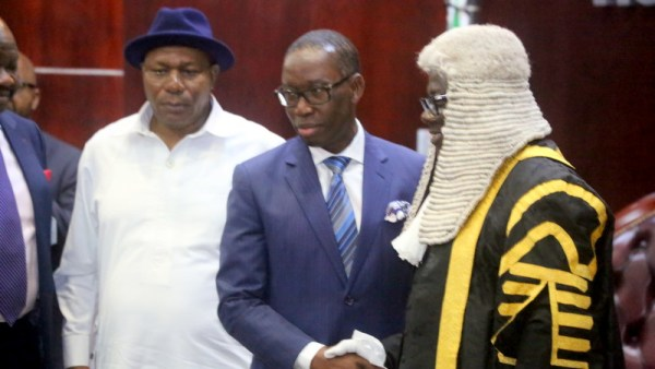 Delta State Governor, Senator Ifeanyi Okowa (middle); Delta State Deputy Governor, Barr. Kingsley Otuaro (left) and Speaker, Delta State House of Assembly, Rt. Hon. Sheriff Oborevwori, during the Presentation of the 2019 Budget Estimates to the Delta State House of Assembly, in Asaba. (PHOTO CREDIT; JIBUONR SAMUEL)