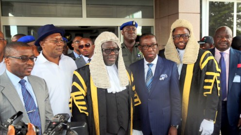 Delta State Governor, Senator Ifeanyi Okowa (3rd right); Delta State Deputy Governor, Barr. Kingsley Otuaro(2nd left); Speaker, Delta State House of Assembly, Rt. Hon. Sheriff Oborevwori (3rd left); Deputy Speaker, Delta State House of Assembly, Rt. Hon. Friday Osanebi (2nd right); Commissioner for Finance, Olorogun David Edevbie (left) and Hon. Tim Owhefere, during the Presentation of the 2019 Budget Estimates to the Delta State House of Assembly, in Asaba. (PHOTO CREDIT; JIBUONR SAMUEL)