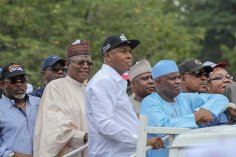 Saraki Tambuwal, Lamido, Secundus during the protest ro INEC hq over Osun elections [photo: @bukolasaraki]