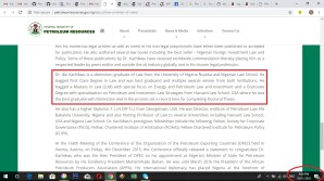 Screen grabs from the website of the Federal Ministry of Petroleum Resources.