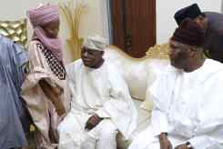 Former President Olusegun Obasanjo (Left) cuddling one of the grandchildren of Presidential candidate of the Peoples Democratic Party and former Vice President of Nigeria, Atiku Abubakar (Left), at the official turbaning of Atiku as the 7th Waziri of the Adamawa Emirate Council on Sunday, 25 November, 2018.