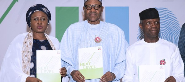 PRESIDENT BUHARI ATTENDS NEXT LEVEL 1A. President Muhammadu Buhari, Wife, Aisha and Vice President Yemi Osinbajo at the launch of Next level a scorecard of Buhari/Osinbajo at the State House Abuja. PHOTO; SUNDAY AGHAEZE. NOV 18 2018.