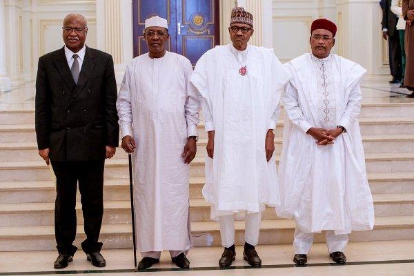 President Muhammadu Buhari and other regional leaders in N'Djamena after a meeting on tackling Boko Haram crisis