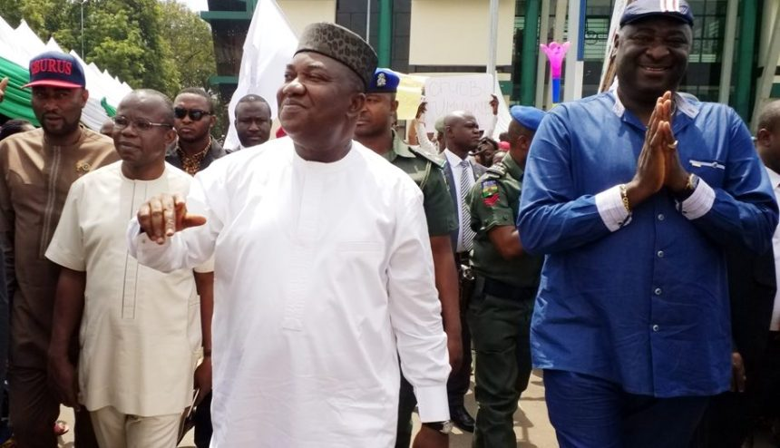 Governor Ifeanyi Ugwuanyi of Enugu State (middle) with Speaker of the State Assembly, Rt. Hon. Edward Ubosi (right); State Chairman of the Peoples Democratic Party (PDP), Hon. Augustine Nnamani (2nd left) and the PDP Candidate, Enugu East/Isi-Uzo Federal Constituency, Hon. Prince Conelius Nnaji, when the people of Enugu East Urban visited the governor and endorsed him for a second term in office, yesterday.