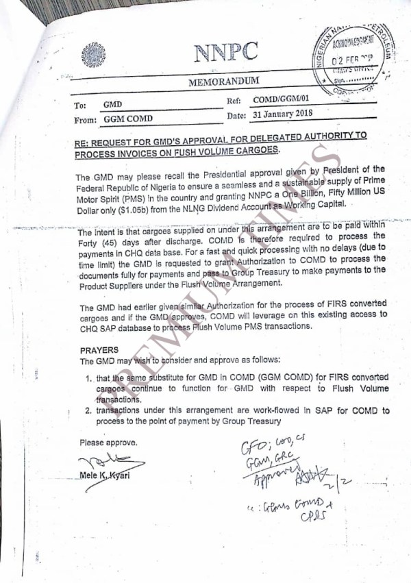 Memo requesting GMD's approval for delegating authority to process invoices on flush volume cargoes - NLNG dividends