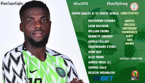 Super Eagles Starting XI Vs Bafana Bafana