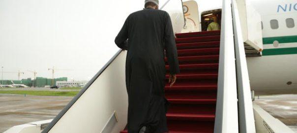 President Muhammadu Buhari boarding Eagle One