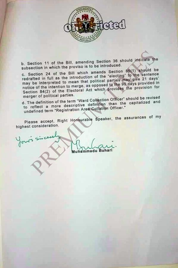 Buhari's letter 2