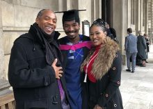 Femi Kuti pictured with his son Made and ex-wife, Funke
