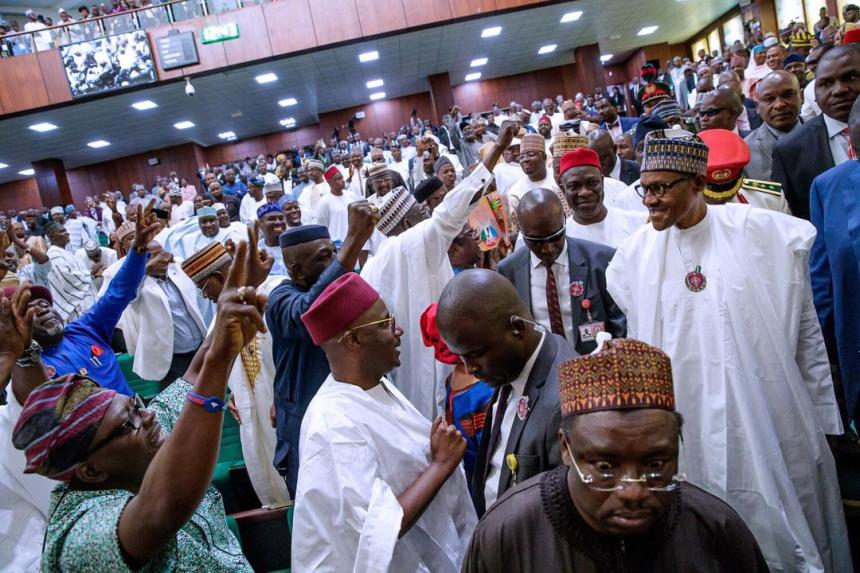 National Assembly in rowdy session as President Muhammadu Buhari presents 2019 budget
