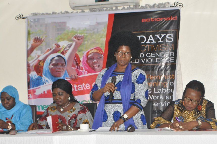 Mrs Ene Obi, the Country Director, ActionAid Nigeria, addressing women at the feminists convening in Uyo