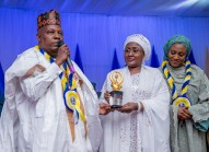 Mrs. Buhari, Governor Shettima and his wife during award of excellence for humanitarian activities to Mrs. Buhari