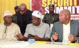 L-R: Secretary to Oyo State Government, Mr. Olalekan Alli; Executive Secretary, Oyo State Security Trust Fund, Mr. Femi Oyedipe; state Deputy Governor, Chief Moses Adeyemo; and Special Adviser on Security to the governor, Mr. Segun Abolarinwa, at the security stakeholders' summit, in Ibadan.