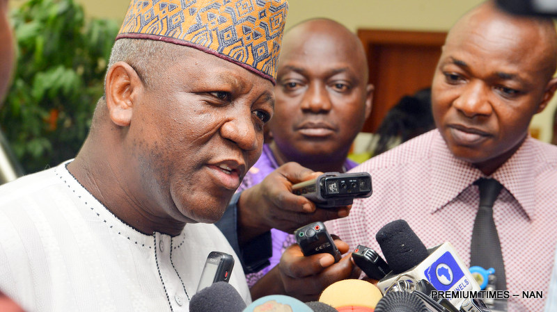 Gov Abdulaziz Yari of Zamfara State State House Correspondents after meeting with Vice President Yemi Osinbajo at the Presidential Villa in Abuja on Monday (3/12/2018) 06258/3/12/2018/Sumaila Ibrahim/ICE/NAN