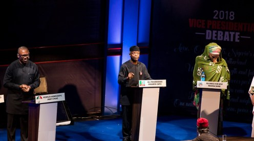 From left: Peter Obi of Peoples Democratic Party (PDP); Yemi Osinbajo of All Progressives Congress (APC); and Khadija Abdullahi of Alliance for New Nigeria (ANN), during the 2018 Vice Presidential Debate organise by Nigeria Election Debates Group in Abuja on Friday (14/12/18) 06666/14/12/2018/Hogan Bassey/BJO/NAN