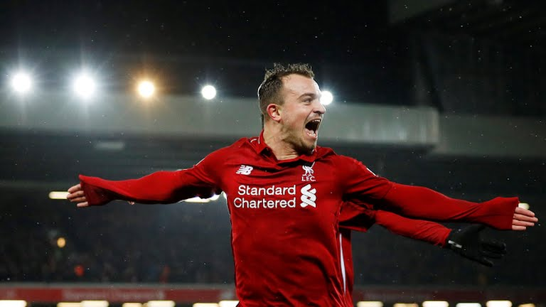 Shaqiri celebrates after scoring (Photo Credit: Reuters)