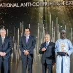 L-R: Executive Director, United Nations Office on Drugs and Crimes (UNODC), Mr Yury Fedoyov, Emir of Qatar, Sheikh Tamim Bin Hammad al Thani, Malaysian Prime Minister, Dr Mahathir Mohamad and EFCC Chairman of EFCC, Mallam Nuhu Ribadu, after Ribadu was conferred with lifetime/outstanding anticorruption award by the Rule of Law and Anticorruption Centre (ROLACC), in Malaysia, on Friday.