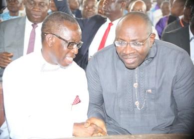 Delta State Governor, Senator Ifeanyi Okowa, his Bayelsa counterpart, Hon Seriake Dickson, during the funreral Mass in honour of Late Chief Anthony Anenih at Uromi, Edo State. PIX: BRIPIN ENARUSAI