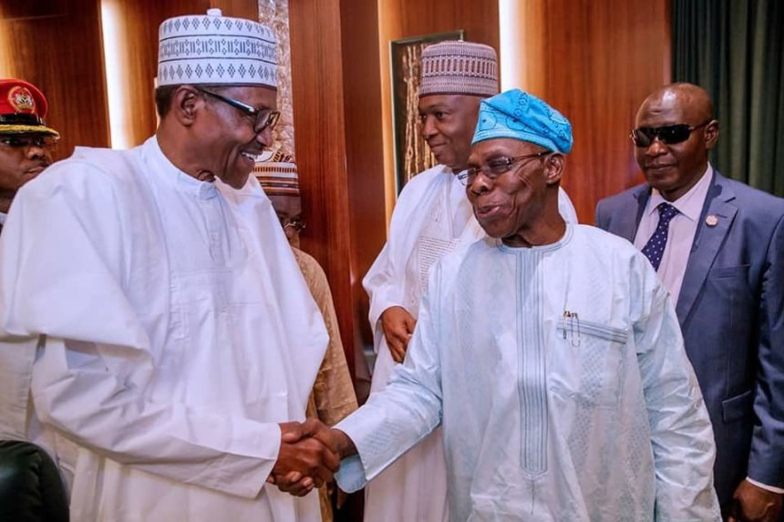 Image result for President Buhari with former President Olusegun Obasanjo during National Council Meeting