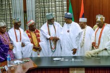 President Muhammadu Buhari and Traditional rulers from the South West (Photo Credit: @Ediong on Twitter)