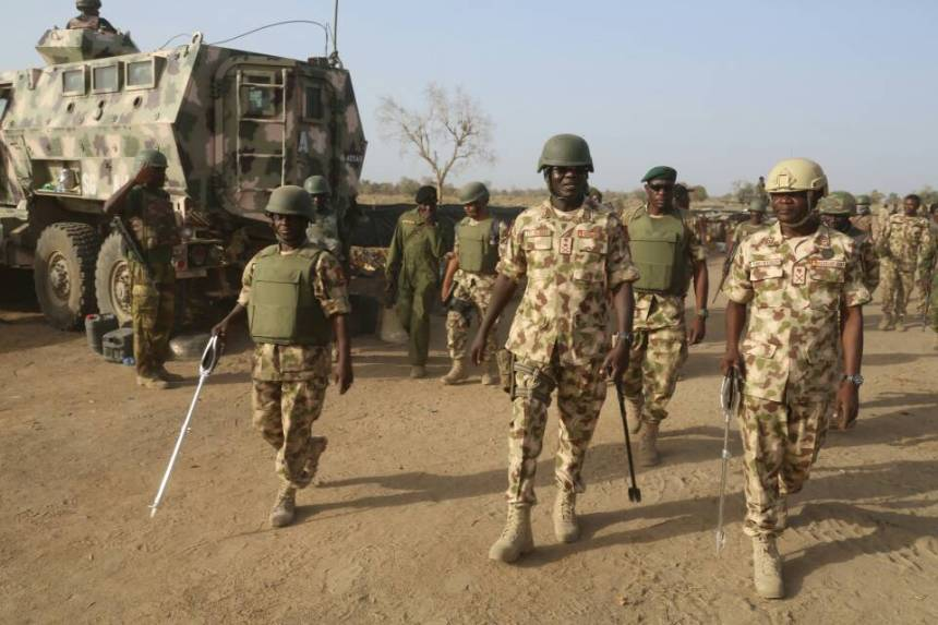 Tukur Buratai and the troops.