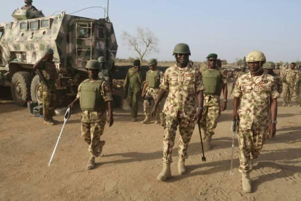 Tukur Buratai and the troops.