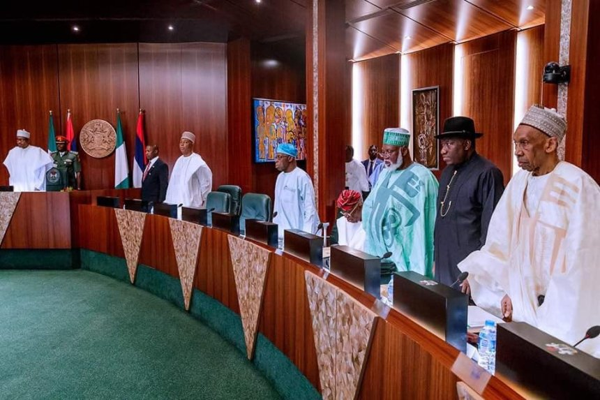 President Muhammadu Buhari presiding over the Council of State meeting