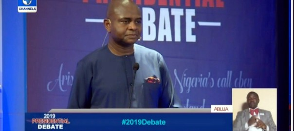 Kingsley Moghalu at the presidential debate. [PHOTO CREDIT: Channels Twitter handle]