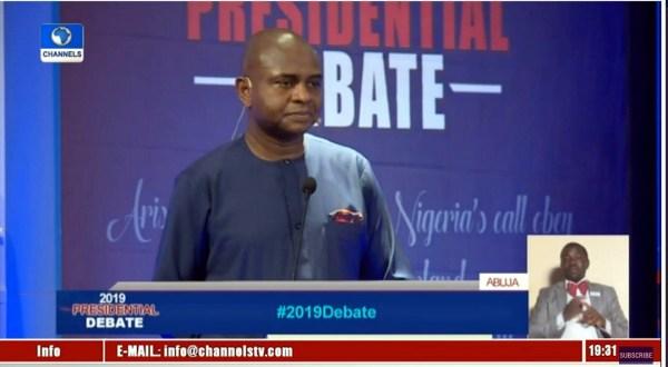 Kingsley Moghalu at the presidential debate. [PHOTO CREDIT: Channels Twitter handle]