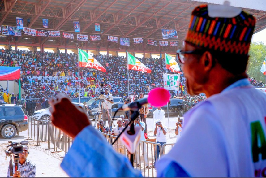 The APC Presidential Campaign Rally is happening in Sokoto. [PHOTO CREDIT: Twitter handle of The Buhari Centre]
