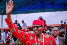 President Muhammadu Buhari during his campaign in Ebonyi State. [PHOTO CREDIT: Official Twitter handle of Bashir Ahmad]