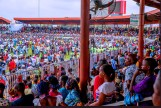 Multitude gathered during President Buhari's campaign in Ebonyi State. [PHOTO CREDIT: Official twitter handle of Bashir Ahmad]