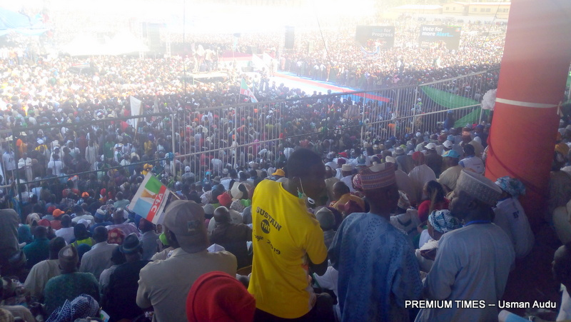 The crowd disrupted President Buhari's campaign in Jos