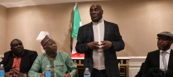 Presidential candidate of the PDP, Atiku Abubakar at a town hall meeting with PDP members in D.C. metropolis in the United States