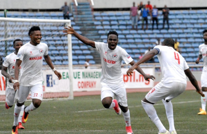 Kelvin Itoya of Rangers runs away to celebrate his match winning goal against El-Kanemi Warriors
