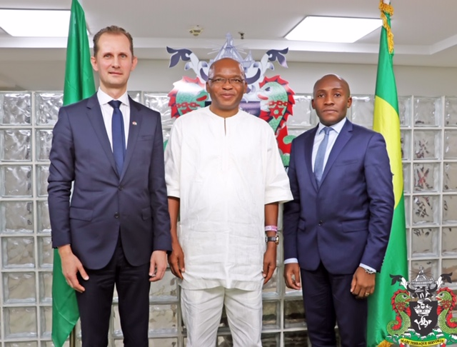Representative of the Managing Director, Nigerian Ports Authority (NPA), Executive Director, Marine and Operations, Dr. Sokonte H. Davies (Middle), the Danish Ambassador to Nigeria, His Excellency, Jesper Kamp (left) and the Managing Director of Maersk Nigeria Limited, Gildas Tohouo Tohouo (right), when the Danish Ambassador paid a courtesy visit to the Management of NPA at the Authority's Corporate Headquarters in Marina, Lagos today. Photo: NPA