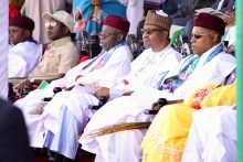 Pic.4. From left: Director-General of All Progressives Congress (APC) Presidential Campaign Council, Mr Chibuike Ameachi; National Chairman of APC, Comrade Adams Oshiomhole; Co-Chairman of the Council, Asiwaju Bola Tinubu; President Muhammadu Buhari; and Gov. Kashim Shettima of Borno, during the APC Presidential Rally in Maiduguri on Monday (21/1/19). 00694/21/1/2019/Hamza Suleiman/JMH/BJO/NAN