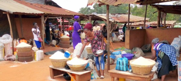 Sayedero market were garri is being sold