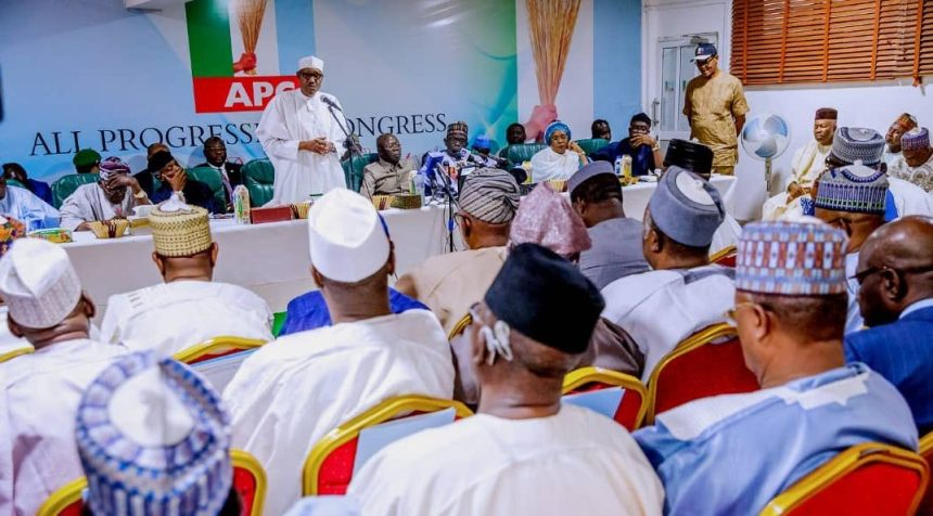 President Muhammadu Buhari today at the APC National Caucus meeting at the Party's Headquarters in Abuja