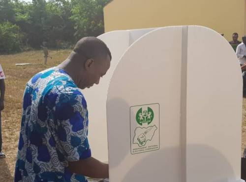 "@YeleSowore, the presidential candidate of the @aacparty has cast his vote in what he described as ""a little bit cumbersome and frustrating"" electoral process."