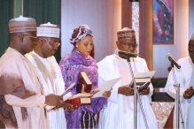 The swearing-in of the board members of the ICPC by President Muhammadu Buhari