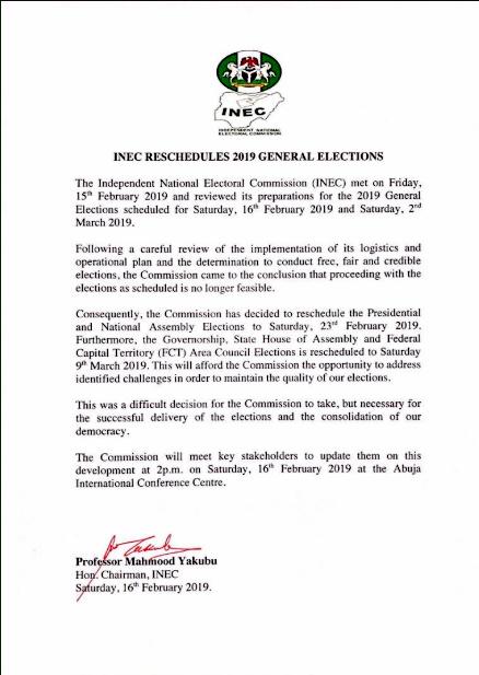 Full statement by INEC chairman, Mahmood Yakubu, announcing postponement of elections