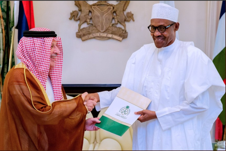 President @MBuhari receives in audience Special Envoy of King Salman Bin Abdulaziz, Custodian of the two Holy Mosques, the Kingdom of Saudi Arabia, today at the State House, Abuja. [PHOTO CREDIT: Bashir Ahmad]