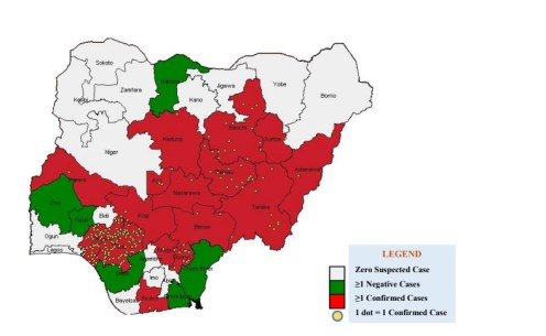 Distribution of Confirmed Lassa Fever cases in Nigeria as at 27th January, 2019