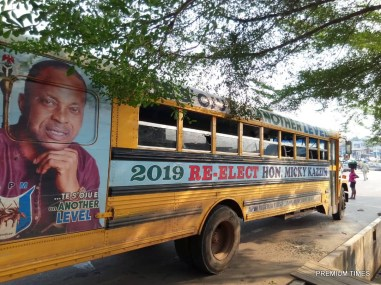 The Vandalized campaign school bus