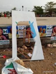 Vandalized campaign banneres