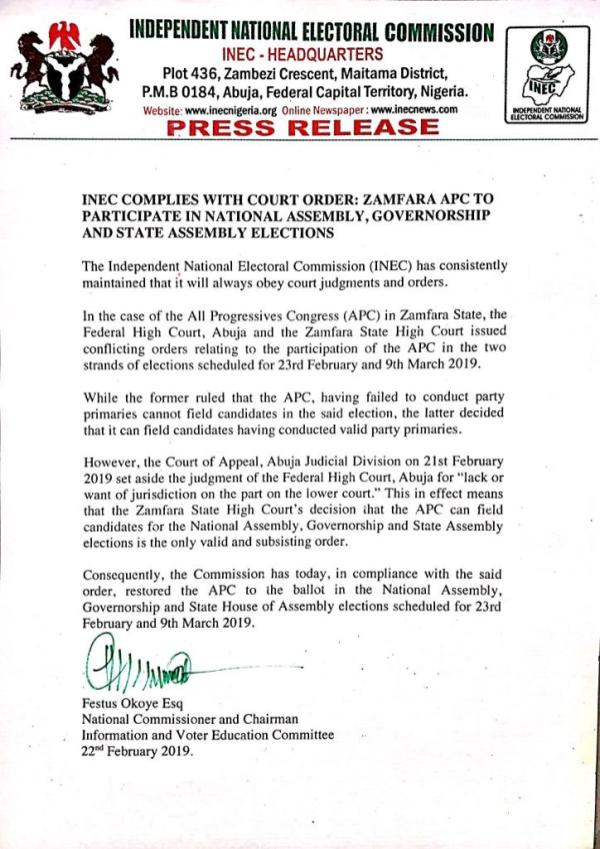 INEC PRESS RELEASE