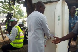 Fela Durotoye getting ready to vote