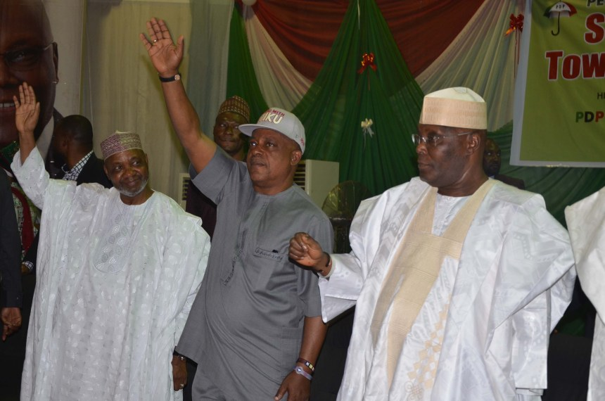 From left: Former Vice President Namadi Sambo; Peoples Democratic Party (PDP) National Chairman, Prince Uche Secondus and Peoples Democratic Party (PDP) Presidential Aspirant, Alhaji Atiku Abubakar during the PDP Stakeholders Town Hall Meeting in Kaduna on Wednesday 20/2/2019 01543/20/2/2019/Ibrahim Bashir/ICE/NAN